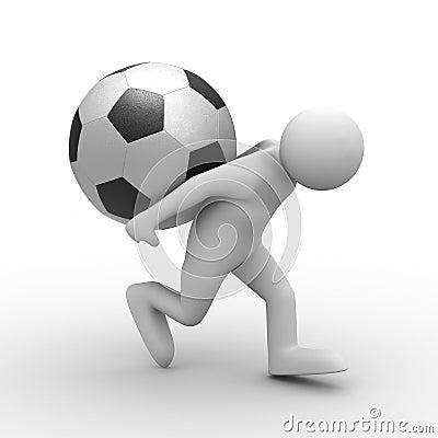 Men carry ball on back