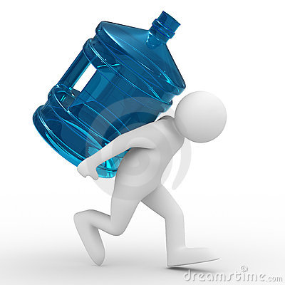 Men carry bottle on back