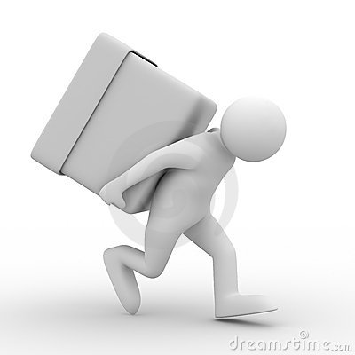Men carry box on back