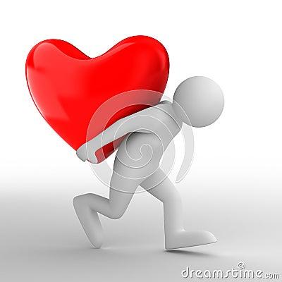 Men carry heart on back