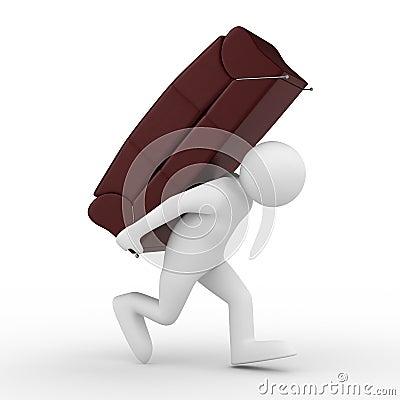 Men carry sofa on back
