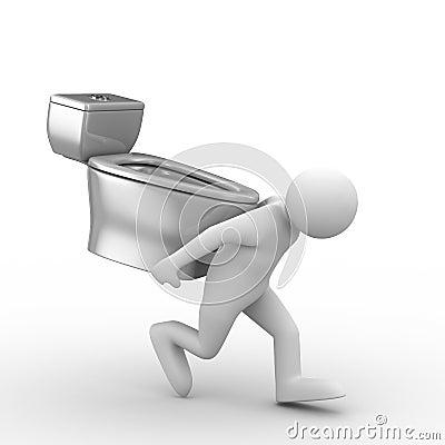 Men carry toilet bowl on back