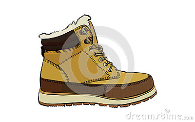 Men colorful winter boots on white background Vector Illustration