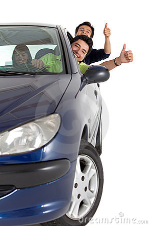 Men coming out from a car