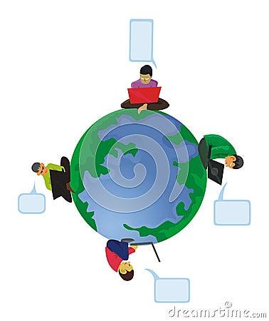 Men computing around the globe