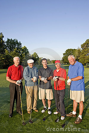 Men on Course with Clubs