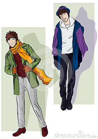 Men in the demi-season clothes