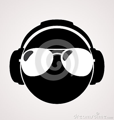 Men dj in headphone.  print illustration