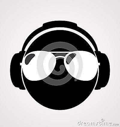 Men dj in headphone.  print illustration