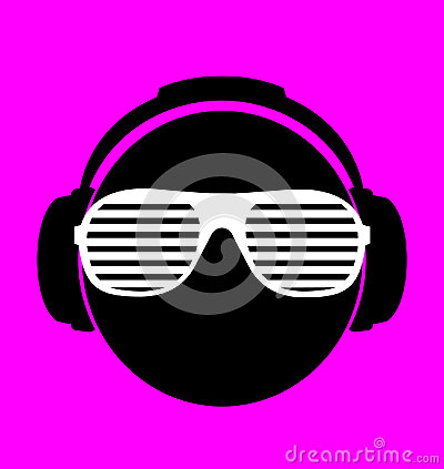 Men dj in headphone. vector print illustration