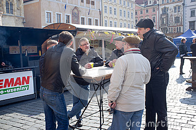 Men drink hot wine in Prague Editorial Stock Photo