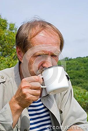 Men drinks tea 3