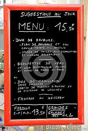 Menú en Francia