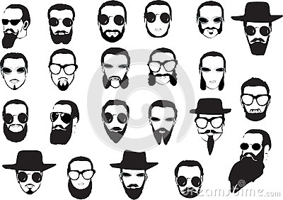 Men faces with beards and glasses