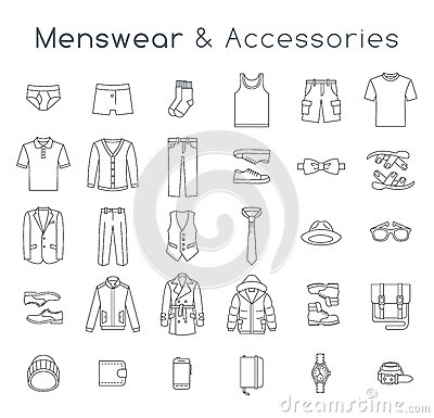 Free Men Fashion Clothes And Accessories Flat Line Vector Icons Royalty Free Stock Photo - 61635605
