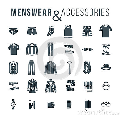 Free Men Fashion Clothes And Accessories Flat Outline Vector Icons Stock Images - 61651694