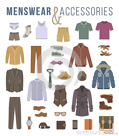 Free Men Fashion Clothes And Accessories Flat Vector Icons Royalty Free Stock Images - 61610209