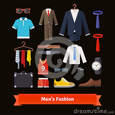 Free Men Fashion Colourful Flat Icon Set Royalty Free Stock Images - 65620119