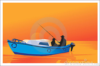 Men fishing with boat