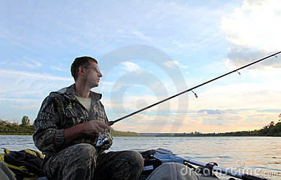 Men fishing with spinning