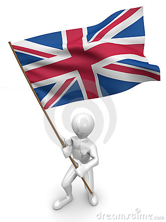 Men with flag. Great Britain