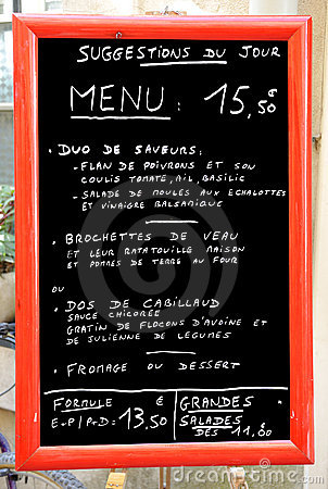 Menü in Frankreich