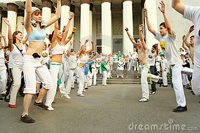 Men and girls dance on real capoeira performance Editorial Photo
