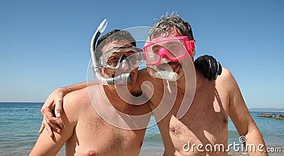 Men go snorkeling