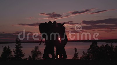 Men With Guns at Sunset. Shot with Red Camera.  stock video