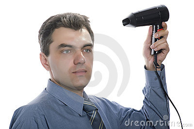Men with hairdryer