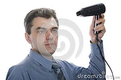 Men with hairdryer
