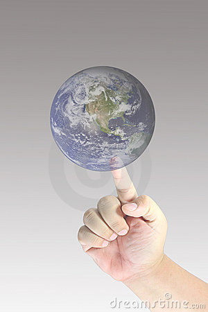 Men hand touch earth