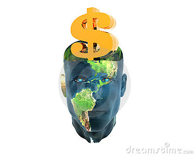 Men head with golden us dollar sign