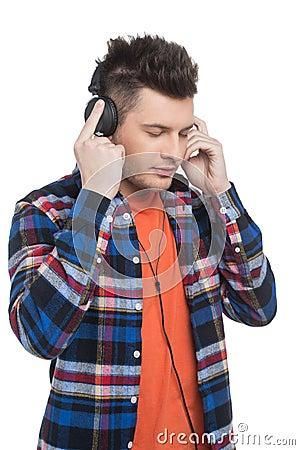 Men in headphones.