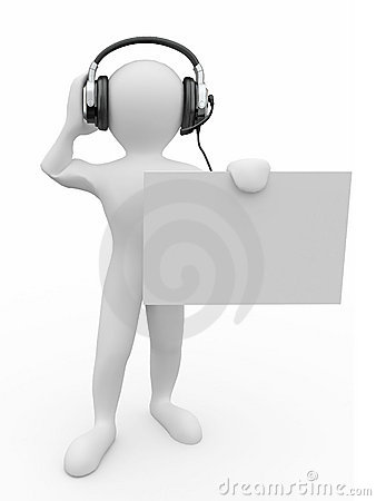 Men with headphones and empty board