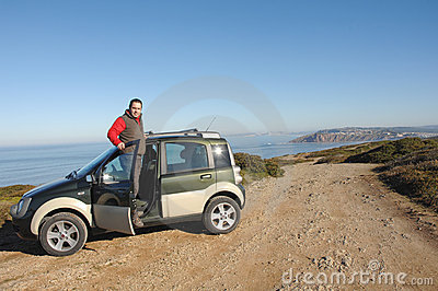 Men with his 4x4 car