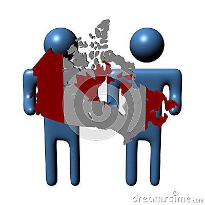 Men holding Canadian map flag