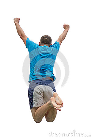 Men jumping on trampoline