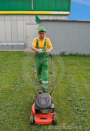 Men and lawnmower