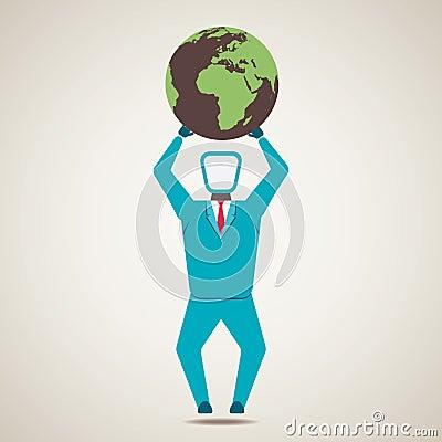 Men lift the globe world Vector Illustration