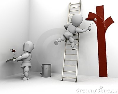 Men painting and  decorating a room