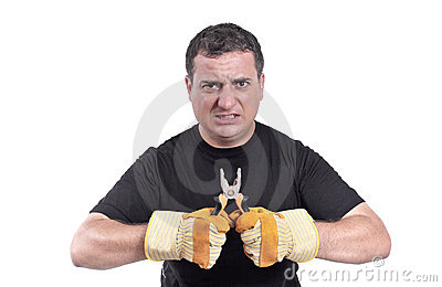 Men with a plier in his hands