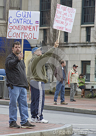 Men Protesting Gun Control at a Rally in Asheville Editorial Stock Photo