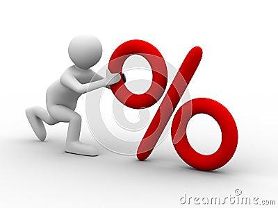 Men push percent on white background