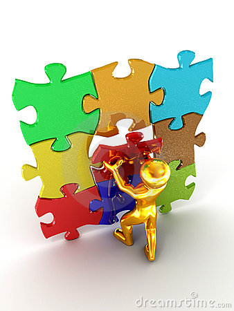 Men with puzzle