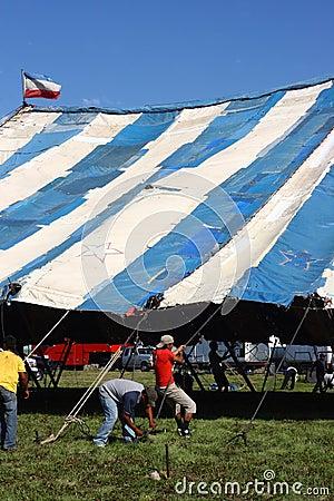 Men Raising Circus Tent Editorial Photography
