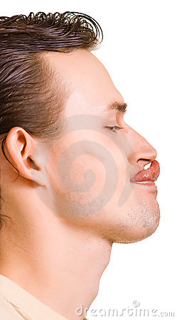 Men reaches a long tongue a nose tip