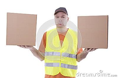 Men in reflective waistcoat kee carton boxes