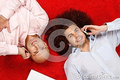 Men relaxing at work