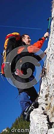 Men rock climbing romania